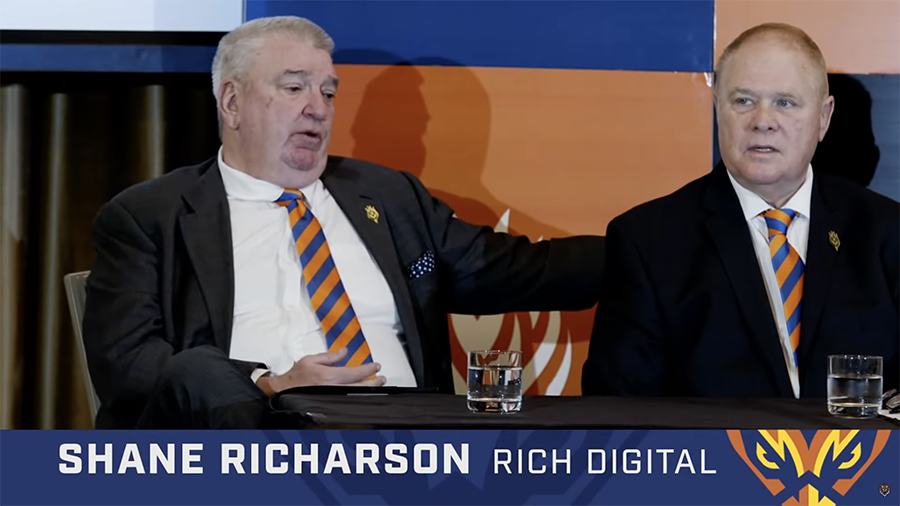 Firehawks press conference Shane Richardson speaking -Easts Leagues Club